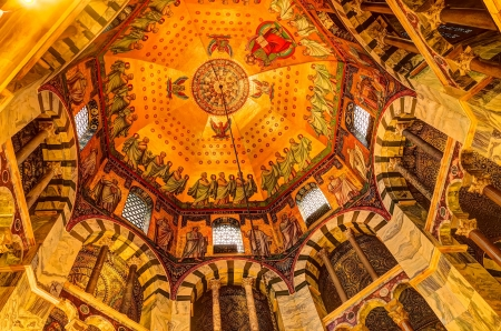 palatine: Ceiling of the Palatine Chapel, part of the Cathedral of Aachen and constructed by Charles the Great (Charlemagne) around 792 in Aachen, Germany.