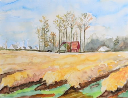 Westphalian barn in autumn meadows - original water color painting photo