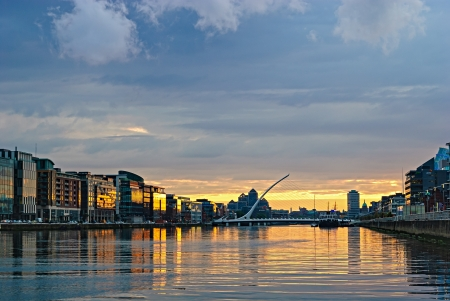 eire: Liffey river at sunset, Dublin, Ireland Stock Photo