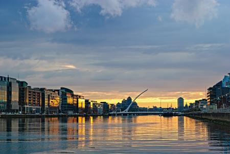 dublin ireland: Liffey river at sunset, Dublin, Ireland Stock Photo