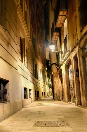 nightly lane in the gothic quarter, Barcelona, Spain photo