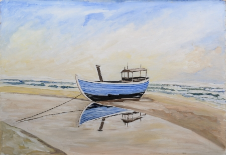 fishing boat on beach - original painting oil on wood