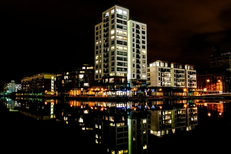 Charlotte Quay Dock and Millennium Tower at night time, on August 23, 2011 in Dublin, Ireland  Editorial