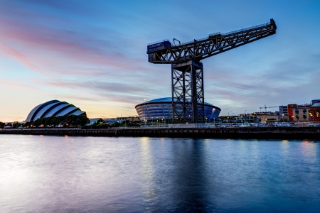 glasgow: Clyde River view at sunset, Glasgow, Scotland, UK Editorial