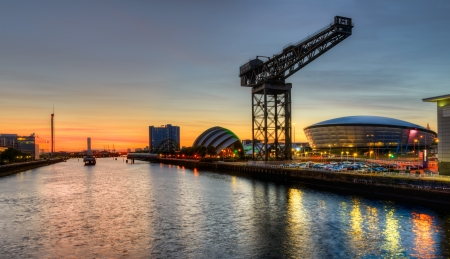 Clyde River view at sunset, Glasgow, Scotland, UK Editorial