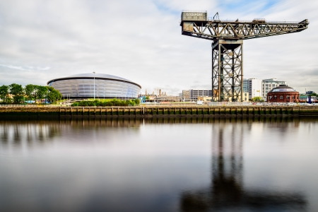 The Hydro Concert Centre and the Finnieston crane at the Clyde River, Glasgow, Scotland, UK
