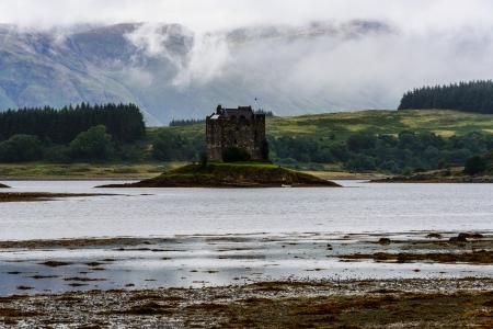 14th century: Castle Stalker, 14th century tower house, Argyll, Scotland Stock Photo