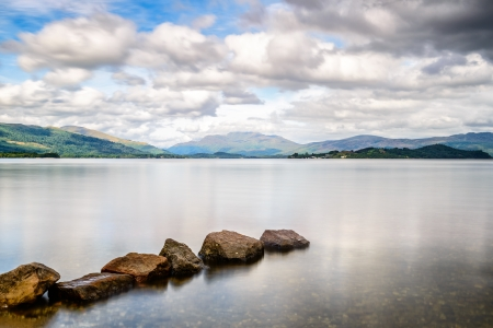 loch lomond: Loch Lomond, at the boundry to the Highlands, Scotland�s biggest freshwater lake Stock Photo