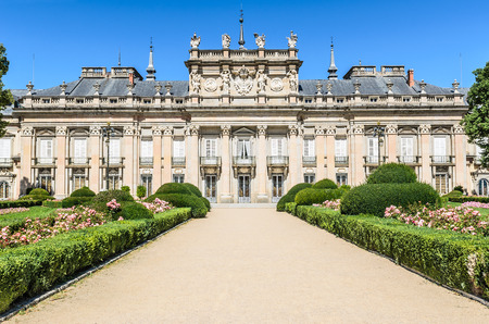 segovia: central section of the garden facade of the Royal Palace of La Granja de San Ildefonso, Spain