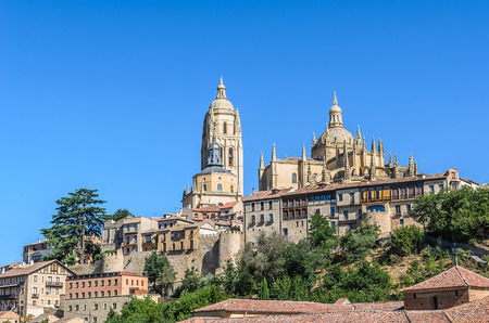 leon: Overall view of the Cathedral of Segovia, Castilla y Leon, Spain Stock Photo