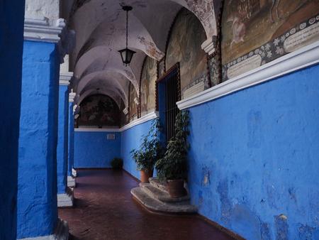 Corridor in Santa Catalina Monastery in Arequipa, Peru