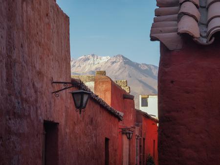 Santa Catalina Monastery and Chachani volcano in Arequipa, Peru