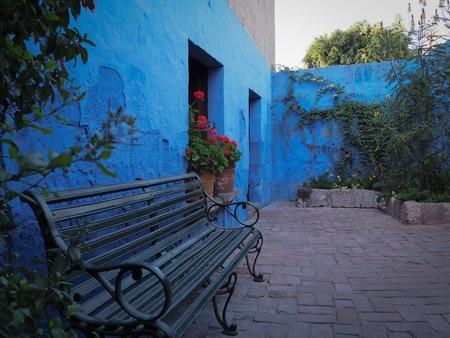 Bench in Santa Catalina Monastery in Arequipa, Peru