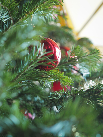 Christmas tree, red baubles