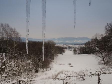View over winter landcape in Bavaria Imagens
