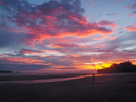 Sunset at the beach in Juanchaco, Colombia Imagens