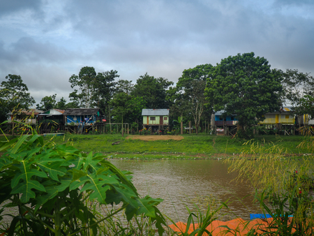 Wooden colorful houses in the Amazon, Leticia, Colombia 写真素材