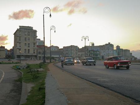 Cars driving along the Malecon in Havana, Cuba