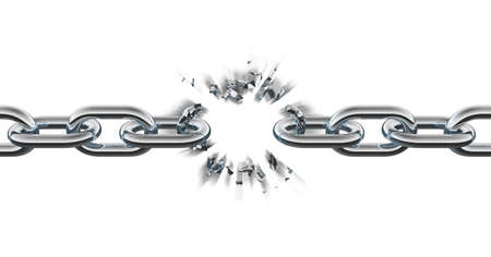 steel chain: Chain breaking Stock Photo