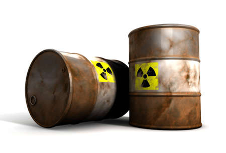 Old radioactive Barrels Stock Photo