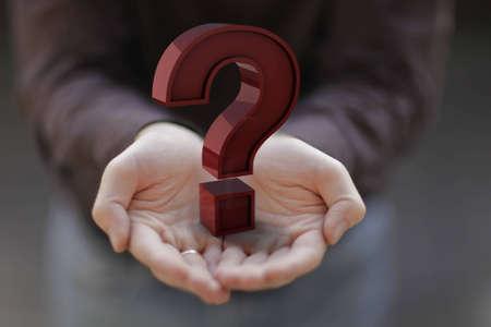 Point d'interrogation sur les mains.