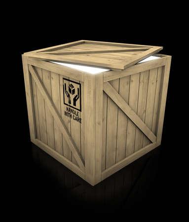 Glowing wooden box