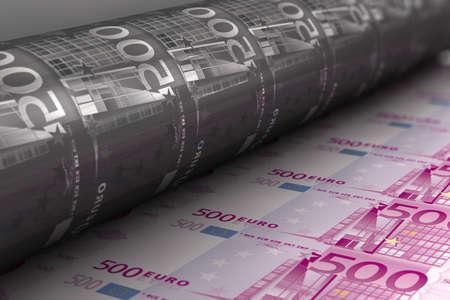 banconote euro: Stampa di banconote Archivio Fotografico