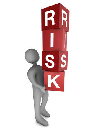 Risk Concept. Man holding cubes.