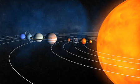 Complete solar system Stock Photo