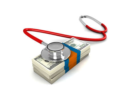 Red stethoscope with a stack of money. Stock Photo