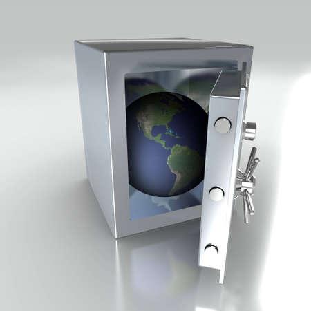 Safe with Globe Inside