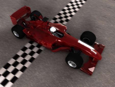 Racing Car. 3D Rendering photo