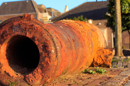 Rusty ancient cannons. Stock Photo