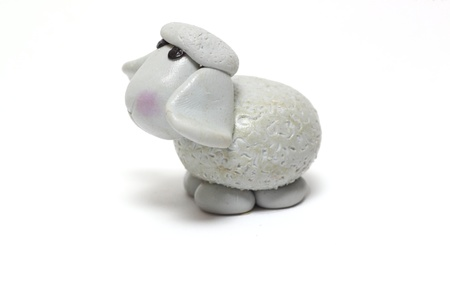 A handmade fimo sheep