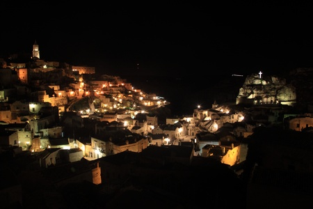 sassi: Night view of Sassi di Matera, Italy