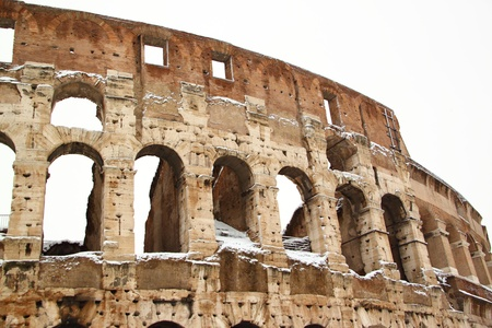 The Coliseum covered by snow,  photo