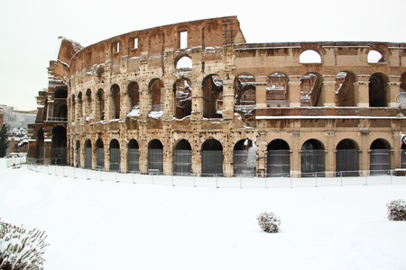 The Coliseum covered by snow Stock Photo