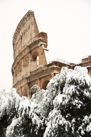 The Coliseum covered by snow photo