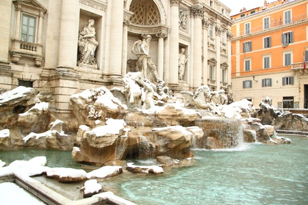 The Trevi Fountain covered by snow