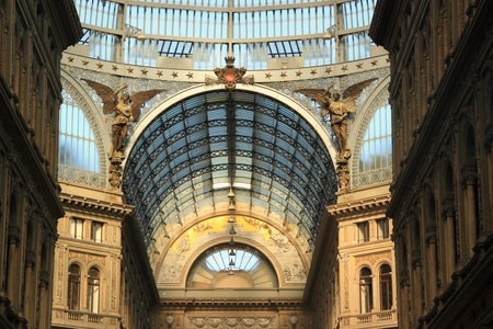 The modern Umberto I gallery in Naples, southern Italy, a public shopping gallery in the center of the city Editorial