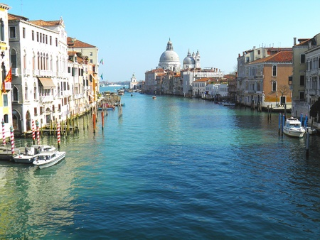 View of the Grand Canal of Venice form the Rialto Bridge Stock Photo