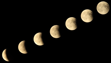 Progression of an eclipse of the moon in its main phases photo