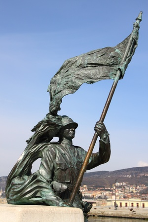 Bronze statue of a soldier with flag Stock Photo - 13007431