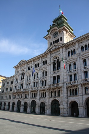 Facade of a renaissance palace in Trieste, Italy with a clock tower Stock Photo - 13022193