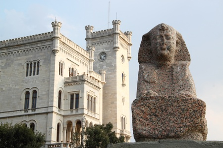 Sculpure of a Sphynx in front of the Miramare Castle in Trieste Italy