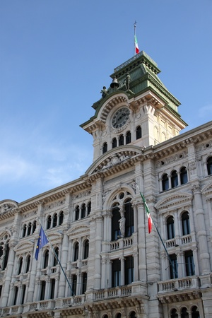 Facade of a renaissance palace in Trieste, Italy with a clock tower Stock Photo - 13047683