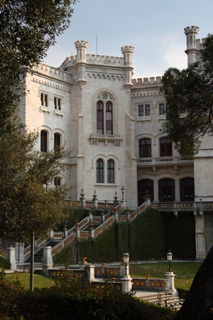 The Miramare Castle in Trieste Italy in an ornamental garden