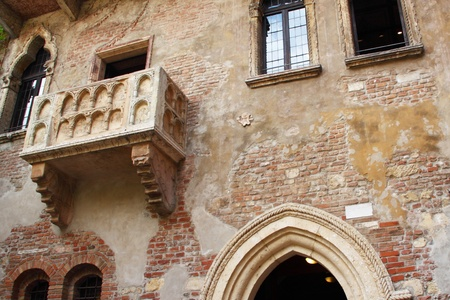 juliets: Frontal view of Juliets balcony from Verona, Italy