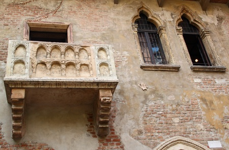 Frontal view of Juliets balcony from Verona, Italy