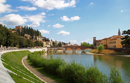 View of Old Bridge in Verona, Italy, on the banks of the Adige river